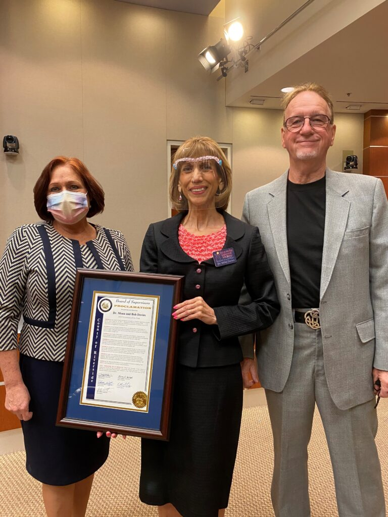Riverside County Board of Supervisors Chair Karen Spiegel Presents Dr. Mona and Bob Davies 2020 Volunteers of the Year Proclamation